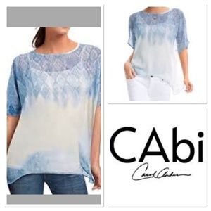 CAbi fade out sheer patterned boxy poncho top C22